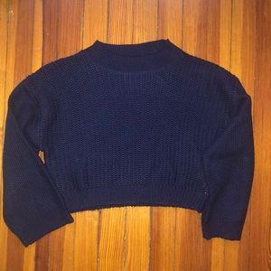 Zara Knit Chunky Navy Blue Cropped Sweater Sz S